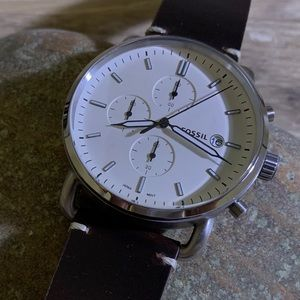 FOSSIL • COMMUTER CHRONOGRAPH BROWN LEATHER WATCH